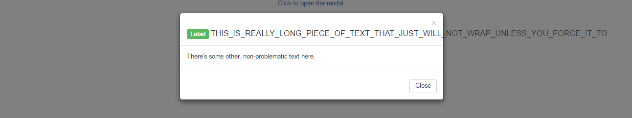 A modal with too-long text